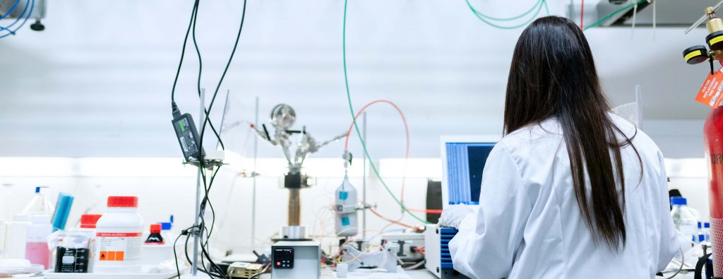 Medical computing student in laboratory