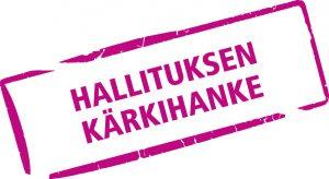 Hallituksen kärkihankkeen logo, jossa violetti suorakaide vinossa ja sen sisällä teksti hallituksen kärkihanke