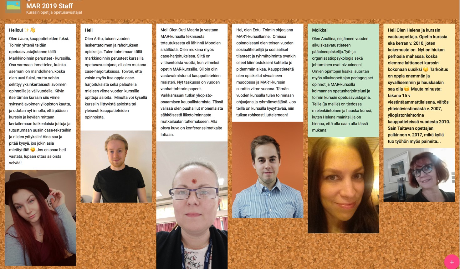 kuvassa on ohjaajatiimin jäsenten kuvat ja lyhyet esittelyt