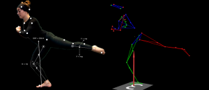 Motion capture of a dancer using reflective markers on skin