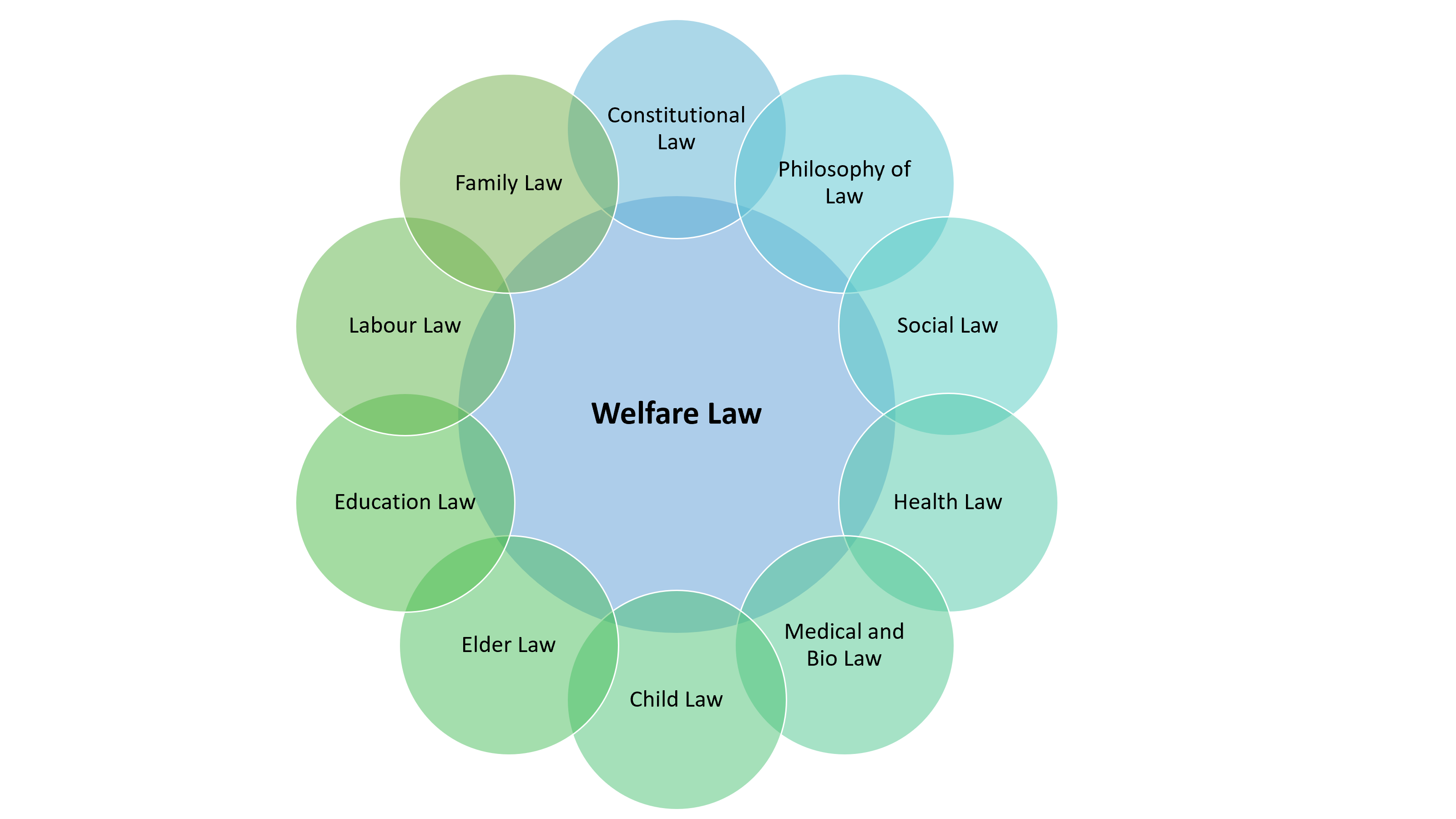 Illustration of the fields of law Welfare Law is connected to: Constitutional Law, Philosophy of Law, Social Law, Health Lawm Medical and Bio Law, Child Law, Elder Law, Education Law, Labour Law, and Family Law.
