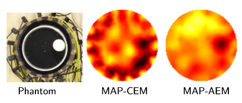 Simplified example of EIT imaging through poorly conducting (skull) layer. Middle: Reconstruction using conventional approach. Right: Reconstruction where the uncertainty related to the shielding layer has been marginalized using the approximation error approach.