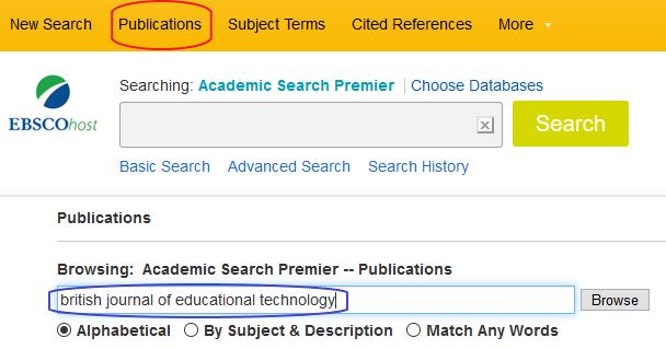 Kuvakaappaus EBSCOhost Academic Search Premier -tietokannan sivulta. Ylävalikon Publications-painike on ympyröity. Browse-kenttään on kirjoitettu lehden nimi.