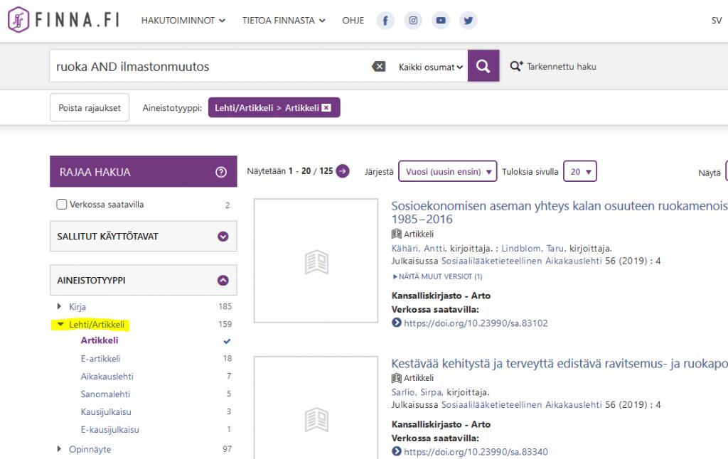 Kuvakaappaus Finna-tietokannasta. Haku on rajattu artikkeleihin vasemmalla olevasta rajausvalikosta.