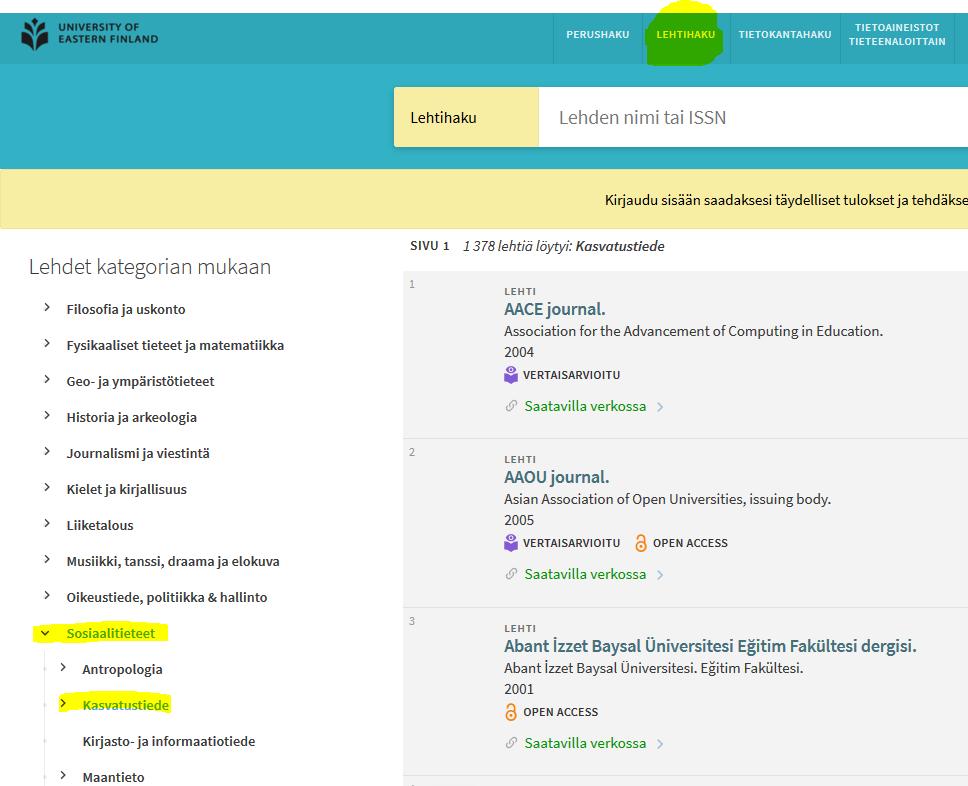 Kuvakaappaus UEF-Primosta. Lehtihaku -hakutyyppi tuo esille myös lehdet kategorian mukaan. Kasvatustiede löytyy valikosta Sosiaalitieteiden alta.