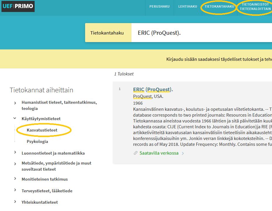 Kuvakaappaus UEF-Primosta näyttää, mistä voi hakea tietokantoja.