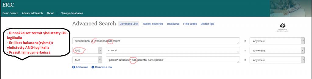 Kuvakaappaus ERIC-tietokannan Advanced search eli tarkennetusta hausta. Rinnakkaiset termit on yhdistetty or-logiikalla. Erilliset alekkaiset hakusanaryhmät on yhdistetty and-logiikalla. Fraasit on merkitty lainausmerkkeihin.