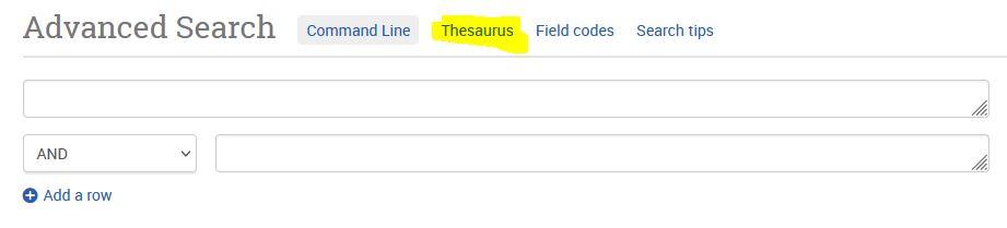 Linkki ERIC-tietokannan Thesaurukseen löytyy tarkennetun haun sivulta.